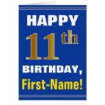 [ Thumbnail: Bold, Blue, Faux Gold 11th Birthday W/ Name Card ]
