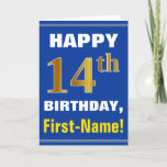 [ Thumbnail: Bold, Blue, Faux Gold 14th Birthday W/ Name Card ]