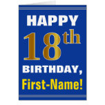 [ Thumbnail: Bold, Blue, Faux Gold 18th Birthday W/ Name Card ]