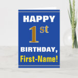 [ Thumbnail: Bold, Blue, Faux Gold 1st Birthday W/ Name Card ]