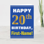 [ Thumbnail: Bold, Blue, Faux Gold 20th Birthday W/ Name Card ]
