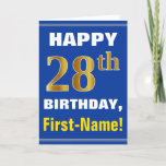 [ Thumbnail: Bold, Blue, Faux Gold 28th Birthday W/ Name Card ]