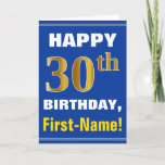 [ Thumbnail: Bold, Blue, Faux Gold 30th Birthday W/ Name Card ]