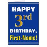 [ Thumbnail: Bold, Blue, Faux Gold 3rd Birthday W/ Name Card ]
