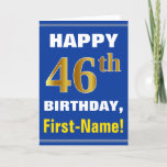 [ Thumbnail: Bold, Blue, Faux Gold 46th Birthday W/ Name Card ]