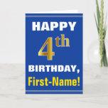[ Thumbnail: Bold, Blue, Faux Gold 4th Birthday W/ Name Card ]