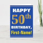 [ Thumbnail: Bold, Blue, Faux Gold 50th Birthday W/ Name Card ]