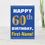 [ Thumbnail: Bold, Blue, Faux Gold 60th Birthday W/ Name Card ]