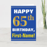 [ Thumbnail: Bold, Blue, Faux Gold 65th Birthday W/ Name Card ]