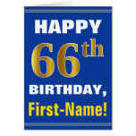 [ Thumbnail: Bold, Blue, Faux Gold 66th Birthday W/ Name Card ]