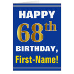 [ Thumbnail: Bold, Blue, Faux Gold 68th Birthday W/ Name Card ]
