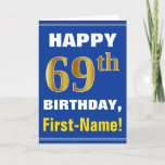 [ Thumbnail: Bold, Blue, Faux Gold 69th Birthday W/ Name Card ]