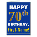 [ Thumbnail: Bold, Blue, Faux Gold 70th Birthday W/ Name Card ]