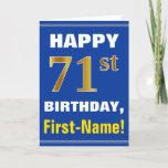 [ Thumbnail: Bold, Blue, Faux Gold 71st Birthday W/ Name Card ]