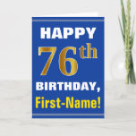 [ Thumbnail: Bold, Blue, Faux Gold 76th Birthday W/ Name Card ]