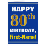[ Thumbnail: Bold, Blue, Faux Gold 80th Birthday W/ Name Card ]