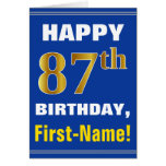 [ Thumbnail: Bold, Blue, Faux Gold 87th Birthday W/ Name Card ]