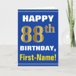 [ Thumbnail: Bold, Blue, Faux Gold 88th Birthday W/ Name Card ]