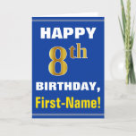 [ Thumbnail: Bold, Blue, Faux Gold 8th Birthday W/ Name Card ]