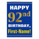 [ Thumbnail: Bold, Blue, Faux Gold 92nd Birthday W/ Name Card ]