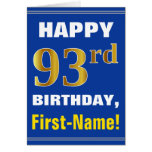 [ Thumbnail: Bold, Blue, Faux Gold 93rd Birthday W/ Name Card ]