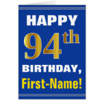 [ Thumbnail: Bold, Blue, Faux Gold 94th Birthday W/ Name Card ]