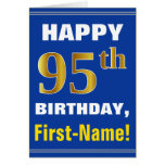 [ Thumbnail: Bold, Blue, Faux Gold 95th Birthday W/ Name Card ]