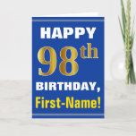 [ Thumbnail: Bold, Blue, Faux Gold 98th Birthday W/ Name Card ]