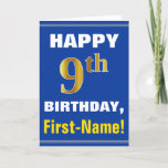 [ Thumbnail: Bold, Blue, Faux Gold 9th Birthday W/ Name Card ]