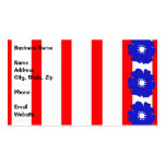 Bold Blue Flowers on Red and White Stripes Business Cards