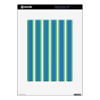 Bold Blue, Green and White Stripes Cell Phone Case iPad Decals