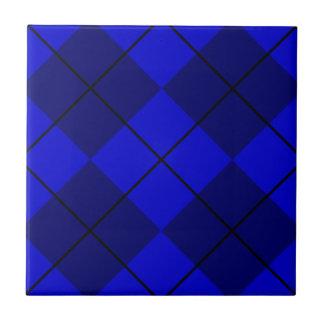 Bold Blue on Blue Argyle Ceramic Tile