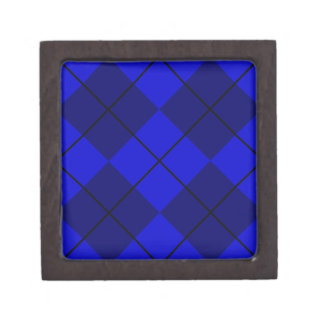 Bold Blue on Blue Argyle Keepsake Box