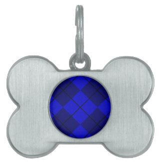 Bold Blue on Blue Argyle Pet ID Tag