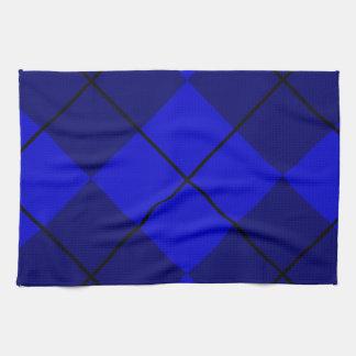 Bold Blue on Blue Argyle Towels