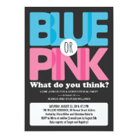 Bold Blue or Pink Baby Gender Reveal Party 5x7 Paper Invitation Card
