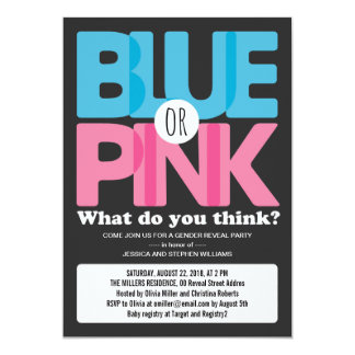 Bold Blue or Pink Baby Gender Reveal Party Card