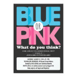 Bold Blue or Pink Baby Gender Reveal Party Personalized Invite