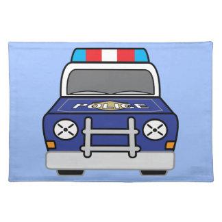Bold Blue Police Patrol Car Cloth Placemat
