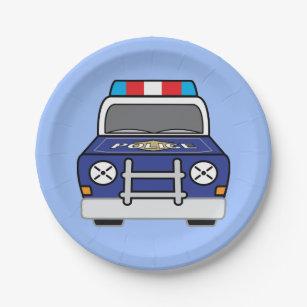 Bold Blue Police Patrol Car Paper Plate  sc 1 st  Zazzle & Police Car Plates   Zazzle