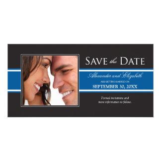 Bold Blue Stripe Save the Date Announcement Photo Card