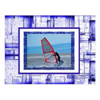 Bold Blue & White  Pattern Photo Template Postcard