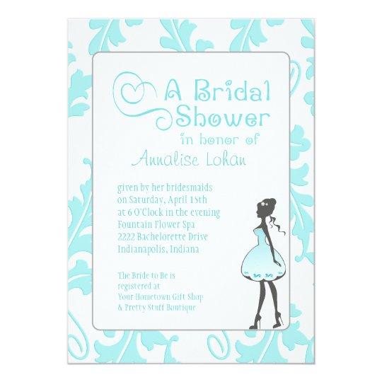 Bold Botanical Leaf Bridal Shower Aqua Blue Card
