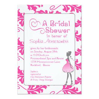 Bold Botanical Leaf Bridal Shower Raspberry Rose Card