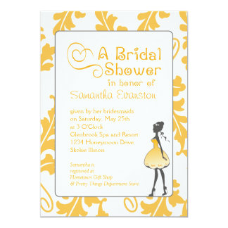 Bold Botanical Leaf Bridal Shower Yellow and Gray Card