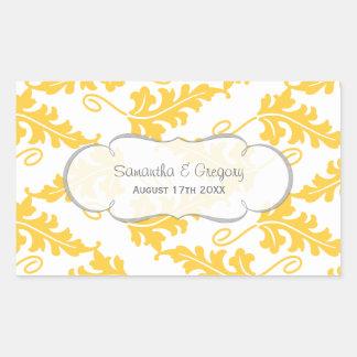 Bold Botanical Leaf Wedding Set Yellow Saffron Rectangular Sticker