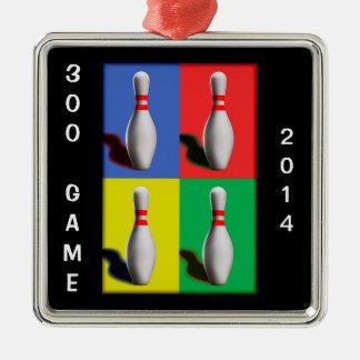 Bold Bowling Pins Metal Ornament