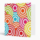 Bold Bright Colorful Concentric Circles Pattern Binders