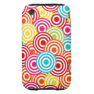 Bold Bright Colorful Concentric Circles Pattern Tough iPhone 3 Case