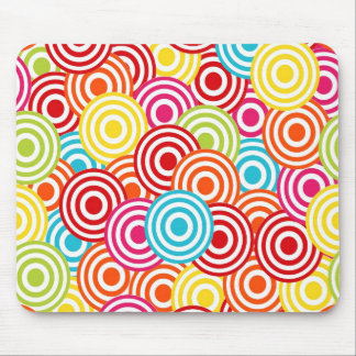 Bold Bright Colorful Concentric Circles Pattern Mouse Pad
